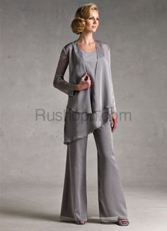Classic Silver Gray Chiffon Mother Of The Bride Pant Suits [06330067414] - US$100.99 : rushopn.com