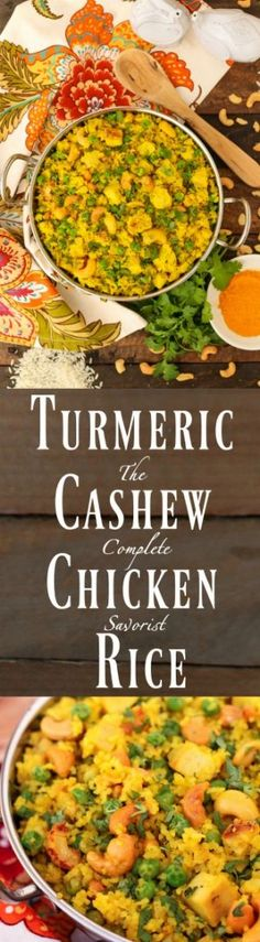 Turmeric Cashew Chicken Rice ~ Don't toss that leftover rice! Add chicken, peas, cashews, and spiced coconut milk for quick, yet delicious one pan meal ~ The Complete Savorist