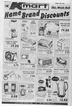 1968 Kmart ad - note both the Kmart and Kresge logos! Old Advertisements, Retro Advertising, Retro Ads, Vintage Newspaper, Vintage Ads, Vintage Photos, Vintage Stuff, Vintage Photographs, Thing 1