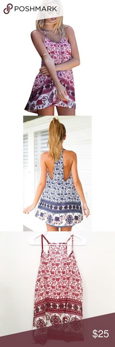 """Boho Elephant Print Mini dress/Tunic/cover-up Beautiful bohemian print on this light and airy sleeveless mini dress - perfect for summer!! This dress is quite short, could be worn as a longer top/Tunic, or as a swimsuit coverup! Sizes available are Medium and Large but **PLEASE NOTE size M fits an XS/S best, size L fits a S/M best.  Measurements:  - M bust: 34"""", length: 29"""".  - L bust: 36"""", length 30"""".  ❣️Price firm unless bundled ❣️No trades ❣️Same or next day shipping ❣️Please ask any…"""