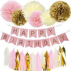 Set of 10 Pink Gold White Tissue Paper Pom Poms Happy Birthday