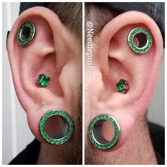 Here is Bradley's nearly fully healed ear sporting @anatometalinc everything!  8g punched conch piercings with 6mm princess cut emeralds  00g punches flats with princess cut emerald eyelets  9/16ths in the lobes with princess cut emerald eyelets...