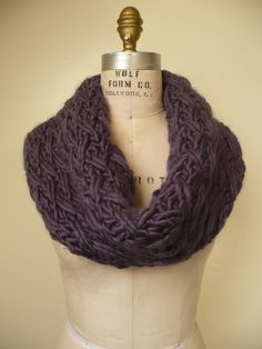 Knitted cowl/infinity scarf; love it! Perfect for when the weather gets cold.... thinking I will make one for the fall/winter