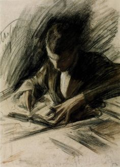 OCT. 23, 1958:  The Nobel Prize Committee announced that Boris Pasternak had been awarded the Nobel Prize in literature.  While Pasternak at first accepted the award, he subsequently had to decline it.   image: Boris Pasternak writing, by Leonid Pasternak 1919