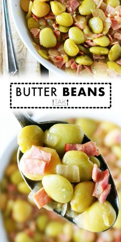 A delicious and savory quick-fix Butter Beans Recipe featuring frozen butter beans, chopped ham, and onion. Build big flavor fast with this recipe! Then, serve your Butter Beans as the main event with a hearty slice of Homemade Cornbread or as a starchy side dish to complement any Southern meal! Ham Recipes, Potluck Recipes, Side Dish Recipes, Veggie Recipes, Slow Cooker Recipes, Healthy Recipes, Moist Cornbread, Homemade Cornbread, Frozen Butter Beans Recipe