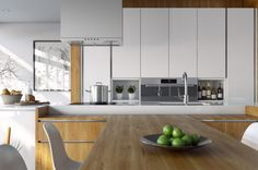 Modern Wood & White Kitchen by Jay Sernal (3D) | Image: modern-wood-white-kitchen-jay-sernal-visualization-3d-02