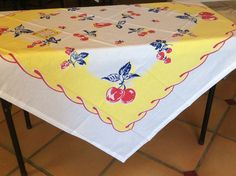 Apple Cherry New Retro Vintage Style x Cotton Tablecloth