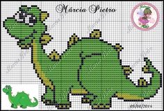 Dinosaur perler bead pattern Crochet Dinosaur, Dinosaur Pattern, Dragon Pattern, Dinosaur Dinosaur, Free Cross Stitch Charts, Cross Stitch Heart, Cross Stitch Animals, Kids Knitting Patterns, Knitting Charts