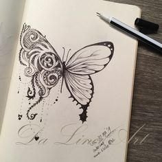 Drawing Butterfly & Swirl - The World of Makeup Butterfly Sketch, Butterfly Tattoo Designs, Butterfly Art, Butterflies, Art Drawings Sketches Simple, Pencil Art Drawings, Black And White Art Drawing, Doodle Art Designs, Doodle Art Drawing