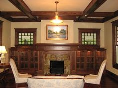 7 Harmonious Cool Tips: Corner Fireplace Marble fireplace living room ideas.Cozy Fireplace Dream Homes. room ideas with fireplace rustic furniture arrangement Craftsman Style Interiors, Craftsman Style Bungalow, Bungalow Interiors, Craftsman Interior, Bungalow Homes, Craftsman Bungalows, Craftsman Homes, Craftsman Living Rooms, Houses