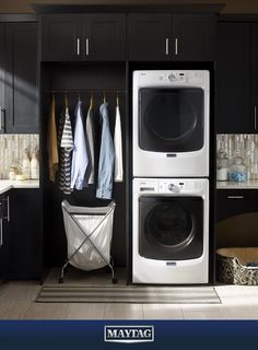 Behold the tower of dependability. When it comes to laundry day,  Maytag stacks up.