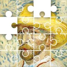 VanG in Straw Jigsaw Puzzle, 48 Piece Classic. Vincent van Gogh (1853-90), Self-Portrait With a Straw Hat and Artist's