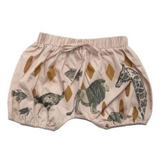 Gorgeous 'spanish villa' coloured poplin baggie shorts with elastic seam detail with hand-illustrated animal print.