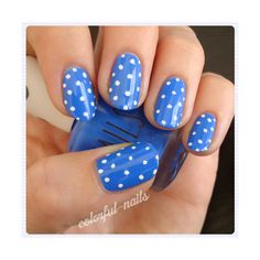 Be Unique and Trendy With Glitter Nail Polish blue polka dots... ❤ liked on Polyvore featuring beauty products, nail care, pictures, nails, photos, blue pictures and beauty