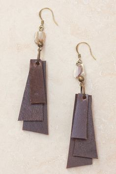 Coco Layered Leather Earrings - Brown - Brown - Letizia California - 1