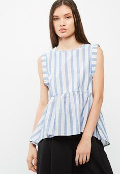 Ruffle up your everyday look with this peplum-style top. A linen-look fabric and lightweight feel complete this breezy design as does a drop hem at the back. Wear your new top over white shorts or jeans and pair with espadrilles.