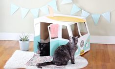 Surf's up, cat lovers! We transformed a cardboard box into a vintage-style VW bus where kitties can jump and play and hang ten all day.