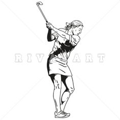 Sports Clipart of Black White Golfing Golfer Teeing Off Woman Womens Girls Graphic Golf Clip Art, Girl Swinging, Clipart Images, Cart, Wonder Woman, Graphics, Superhero, Black And White, Female