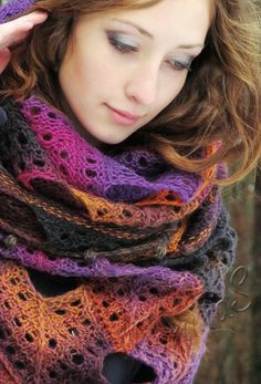"""""""Blueberry nights"""" (knitted shawl, wrap, knitting lace, wool shawl, modular squares, patchwork)"""