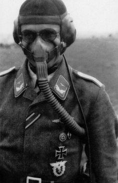 A German Luftwaffe pilot wearing his oxygen mask during World War 2.