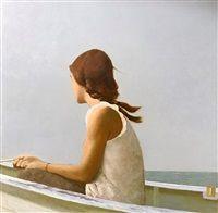 "Girl on the Boat, 2018 by Bo Bartlett (b. Oil on panel 18 × 18 in; × cm ""Bo Bartlett is very American. Bo is one of the. American Realism, Bo Bartlett, Contemporary Paintings, Figure Drawing, Figurative Art, Art School, Art Images, New Art, Vintage Art"