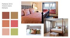 2013 Bedroom Decorating Ideas, Paint and Bedding Inspiration: Extracts    At first glance, the Extracts palette seems to pack a punch. But when put into context the colors that will trend in fashion, paint colors, bedding, curtains and other bedroom linens and décor that draw from the Extracts color palette provide the perfect pop of color. Though they trend a bit toward the romantic and feminine, there's nothing here that cannot be adapted for a more masculine or contemporary feel.