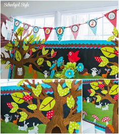 woodland theme classroom ~~~~I like the bluebrown and would also do green  brown. Or orange and brown.