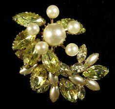 Juliana Style Brooch Vintage Gold Tone Green and Yellow Rhinestone Pin | eBay