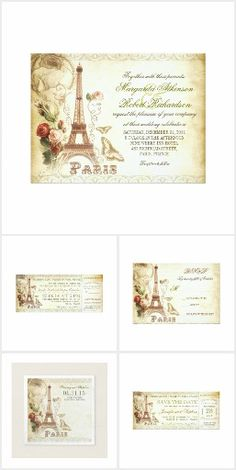 Vintage Paris Wedding Collection. Beautiful design vintage wedding invitations for weddings in Paris, France. Painted Eiffel tower with rose drawing and butterflies, beautiful typography , brown old paper background and some swirly antique accents.  #ad