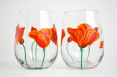 Orange Poppies Stemless Wine Glasses - Hand Painted Wine Glasses for Mom - Mothers Day Gift - Set of 2