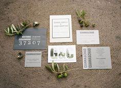 Shades of grey and steel invite backer - industrial style win #cedarwoodweddings | Cedarwood Weddings Olive Organic Inspiration