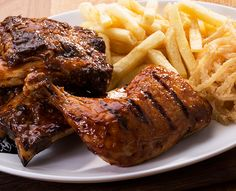 Try our famous ribs or one of the many items off our sizzling grill menu. Served with Spur-style crispy onion rings and chips OR a baked potato. Marinated Pork Ribs, Crispy Onions, Grills, Steak, Chips, Menu, Chicken, Hot, Inspiration