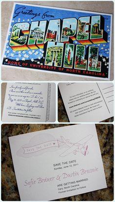 vintage postcard save the date- airplane