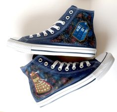 I really would love a pair of these!!!  Doctor Who Converse - Dalek and Tardis.