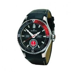 In a stainless steel case with a mineral top glass, the Red October 2 features a turnable bezel and a screw-type crown, wearable in up to 10 ATM of water resistance. Watch Brands, Stainless Steel Case, Brand Names, Watches For Men, Red, German, Accessories, Shopping, Design