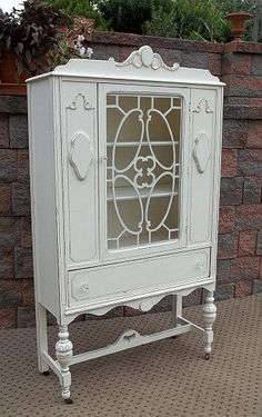 Shabby French White Chic China Closet Bathroom Cupboard