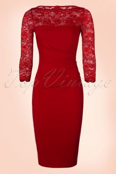 Vintage Chic ~ 50s Linda Lace Pencil Dress in Red