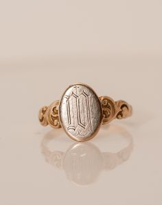 "Victorian 10K Gold Signet Ring - Monogram ""M"""