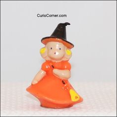 Vintage Halloween Gurley Candle ~ Little Witch Girl, circa 1950's.