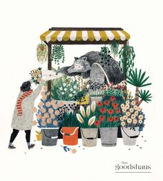 Liekeland / Lieke van der Vorst - illustration of bear as flower shop vendor Art And Illustration, Illustrations And Posters, Art Design, Art Inspo, Painting & Drawing, Illustrators, Artwork, Art Drawings, Art Photography