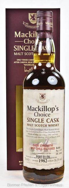 Port Ellen Whisky 1982 Mackillop's Choice Region : Islay nur eine Flasche 56,2 % alc./vol. 0,7l nicht kühlgefiltert Fassart : Nase : Sanfter Malz, leicht rauchige Noten mit süßem Charakter Geschmack : Leicht rauchig, süß, würzig mit Vanillearomen und einer Vielzahl an Aromen Finish : Trockener Abgang mit sanftem Rauch Abfüller : Mackillop's Distilled : 05.1982 Bottled : 03.2014 32 y.o. Einzelfass Nr.: 1511 Flaschenanzahl : 306 Flaschennr.: 148 Einzelfassabfüllung in natürlicher Fassstärke