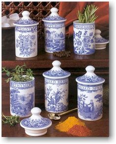 Grandmother's love for blue & white..she had these herb canisters