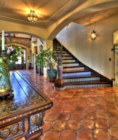 Spanish Revival style - steps with colorful tile risers.