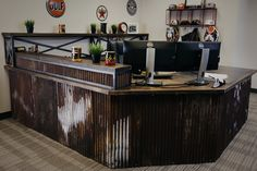This unique custom desk was built from reclaimed corrugated steel panels and a distressed oak surface. Custom Desk, Custom Metal, Metal Desks, Steel Panels, Corrugated Metal, Wood Desk, Liquor Cabinet, Storage, Building