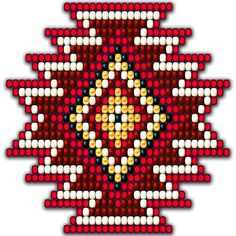 'Red Native American Southwest-Style Sunburst' by Ricky Barnes - Simple native american style peyote seed bead sunburst with red, orange, gold, black, and bone beads. Native Beading Patterns, Beadwork Designs, Seed Bead Patterns, Peyote Patterns, Weaving Patterns, Beaded Earrings Native, Beaded Earrings Patterns, Native Beadwork, Native American Beadwork