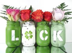 St Patricks Day Party Decoration, Green Mason Jars, Spring Decor, Distressed Home Decor, Painted Mason Jars, Rustic Centerpiece by curiouscarrie on Etsy https://www.etsy.com/listing/220931219/st-patricks-day-party-decoration-green