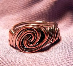 Men's Silver  Copper Tidal Wave Wire Handmade Ring by LeahLHoffman, $18.95
