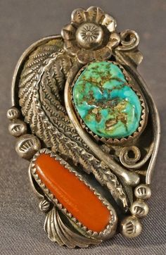 Navajo Sterling Silver, Turquoise & Coral Leaf ring