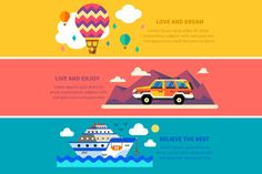 Travel by land, sea and air. Vector - Illustrations - 1