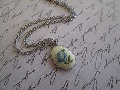 Vintage Blue Rose Necklace